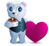 Pretty white bear holds basket ice cream and red heart. Symbol of love. Gift for Valentines Day. Isolated on white vector cartoon illustration Stock Photo