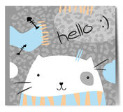 Pretty white cat in scarf. Royalty Free Stock Photography