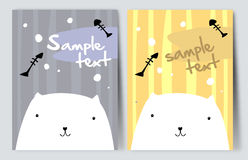 Pretty white cat. Simple vector drawing Stock Photography