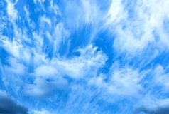 Pretty White Clouds in The Blue Sky Background stock images