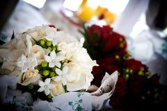 Pretty white wedding bouquet of flowers royalty free stock photos