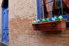 Pretty window box with Easter egg decorations Royalty Free Stock Photos
