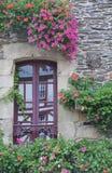 Pretty window Rochefort-en-Terre, France. Stock Photography