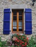 Pretty window Rochefort-en-Terre, France. Stock Image