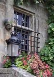 Pretty window Rochefort-en-Terre, France. Stock Photos