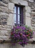 Pretty window Rochefort-en-Terre, France. Royalty Free Stock Images