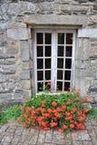 Pretty window Rochefort-en-Terre, France. Stock Photo