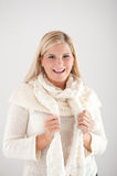 Pretty winter woman in scarf Royalty Free Stock Images
