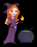 Pretty Witch. Cartoon illustration of a cute young witch holding a flame and standing next to a bubbling cauldron. Great for Halloween. Looks great on black or royalty free illustration