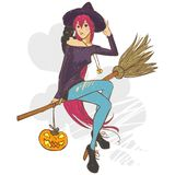 Pretty witch. Pretty red-haired girl with a cat on his shoulder on a broom as a witch Stock Photo
