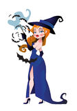 Pretty witch with bats Stock Images