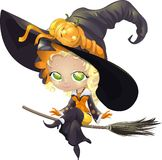 Pretty witch on a broom Royalty Free Stock Photos