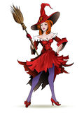 Pretty witch with a broom Royalty Free Stock Photos