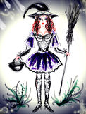 Pretty witch with broomstick in hand Royalty Free Stock Photography