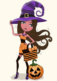 Pretty Witch. Cute cartoon pretty witch in a hat Royalty Free Stock Image