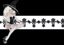 Pretty Witch Floral Background. First I created the background with a little textured floral trim over a white strip and added black. Then I added this lovely stock illustration