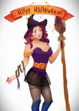 Pretty Witch Halloween. Sexy girl with broom and hat. Greeting card,  Web, ribbon, inscription Royalty Free Stock Image