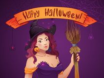 Pretty Witch Halloween. Sexy girl with broom and hat. Greeting card,  Web, ribbon, inscription Stock Photo