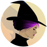 Pretty Witch Profile. Profile drawing of a pretty woman dressed as a witch royalty free illustration