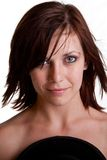 Pretty woman. Beautiful young woman head and shoulder portrait on white background exposed shoulders Stock Photos