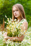Pretty woman. Young happy girl with bouquet royalty free stock photo