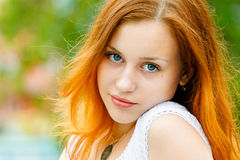 Pretty woman. Closeup portrait of a beautiful young woman royalty free stock photo
