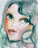 Pretty Woman. Watercolor portrait of a pretty woman Royalty Free Stock Photo