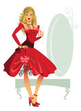 Pretty woman. Illustration of a young fashionable woman in red dress Stock Photography
