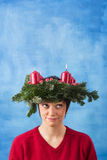 Pretty woman with advent wreath stock photos