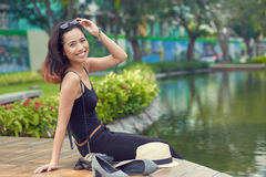 Pretty Woman Alone with Nature stock photography