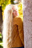 Pretty Woman with Amazing long blonde hair Stock Photo