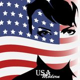 Pretty woman with american flag Royalty Free Stock Photos