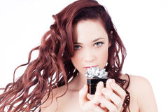 Pretty Woman And Gift Stock Photo