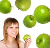 Pretty woman with apple Royalty Free Stock Photo