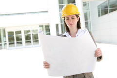 Pretty Woman Architect at Building Site Stock Image