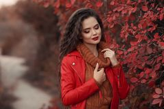 Pretty Woman autumn outdoor portrait. Young beautiful brunette i royalty free stock photos