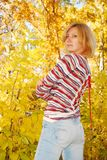 Pretty woman in the autumn park. Royalty Free Stock Photography
