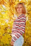 Pretty woman in the autumn park. Royalty Free Stock Photo