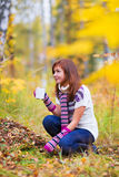 Pretty woman in an autumn park Stock Images