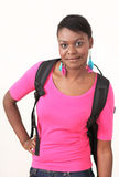 Pretty woman with backpack Stock Image