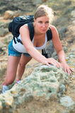 Pretty woman with backpack. Stock Image