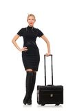 Pretty woman with bags isolated on the white Royalty Free Stock Images