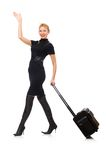 Pretty woman with bags isolated on the white Royalty Free Stock Photos