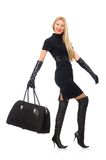 Pretty woman with bags isolated on the white Stock Images