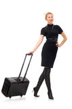 Pretty woman with bags isolated on the white Royalty Free Stock Image