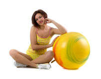 Pretty woman and ball Royalty Free Stock Image