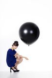 Pretty woman with balloon Royalty Free Stock Photos