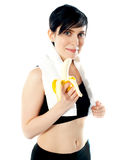 Pretty woman with banana royalty free stock images