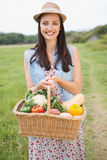 Pretty woman with basket of veg Royalty Free Stock Images