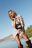 Pretty woman on the beach Stock Photos